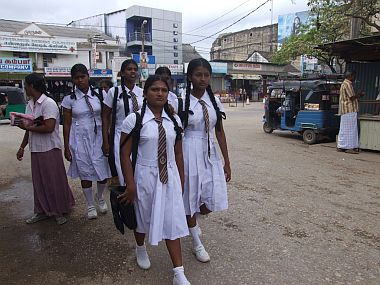 School girls on the street in Jaffna