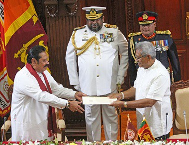 Hon. Mahinda Rajapakse sworn in as Prime Minister of Sri Lanka